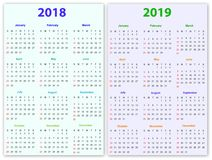 12 months Calendar Design 2018-2019 Stock Photography
