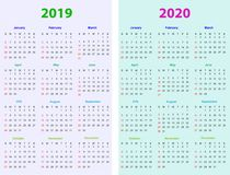 12 months Calendar Design 2019-2020. Printable and editable Royalty Free Stock Photo