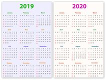 12 months Calendar Design 2019-2020 Royalty Free Stock Photo