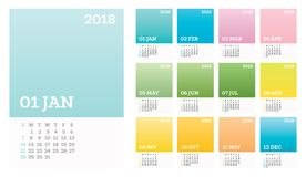 12 Months Calendar 2018 Pastel Сolor in Minimalistic Style. Vector Illustration. Desk Calendar. Week Starts Sunday Stock Images