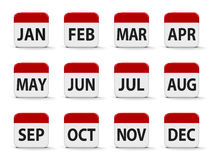Months calendar. Web buttons, three-dimensional rendering, 3D illustration Stock Photos