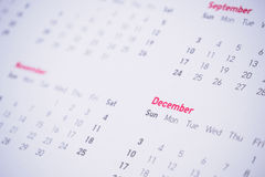 Months and dates on calendar. New year 2017 royalty free stock photography