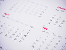 Months and dates on calendar. New year 2017 royalty free stock photos