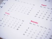 Months and dates on calendar new year. 2017 royalty free stock photo