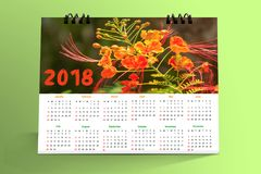 12 months Desktop Calendar Design 2018. With mockup royalty free stock photo