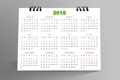 12 months Desktop Calendar Design 2018 Stock Photos