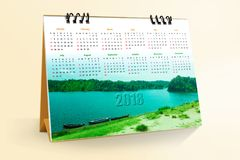 12 months Desktop Calendar Design 2018. With mockup royalty free stock photography
