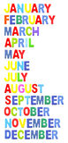Months formed by wooden alphabet color. On white background stock illustration