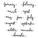 Months hand lettering Royalty Free Stock Images