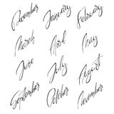Months handwritten modern calligraphy. 12 ink black hand lettering with names of the months isolated on white background. Handwritten elements for calendars Stock Photography