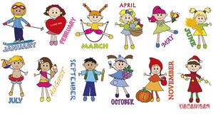 Months. Illustration of months with funny children royalty free illustration