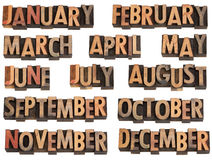 Months in letterpress type Stock Photos