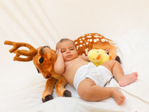 4 months old baby boy playing with soft toy dear and chick Royalty Free Stock Photo