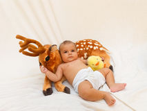 4 months old baby boy playing with soft toy dear and chick Royalty Free Stock Photos