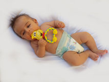 3 months old baby boy playing with teething toy. Giraffe, white background Royalty Free Stock Images
