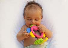 3 months old baby boy playing with teething toy. Giraffe, white background Royalty Free Stock Photography