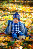 8 months old boy in the fall Royalty Free Stock Images