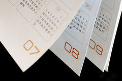 Months on an open calendar Stock Photos