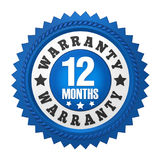 12 Months Warranty Badge Isolated. On white background. 3D render Stock Photos