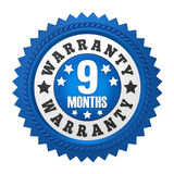 9 Months Warranty Badge Isolated Royalty Free Stock Photo