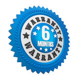 6 Months Warranty Badge Isolated. On white background. 3D render royalty free illustration