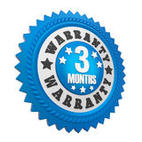 3 Months Warranty Badge Isolated. On white background. 3D render Stock Photography