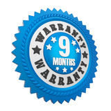 9 Months Warranty Badge Isolated. On white background. 3D render Stock Photography