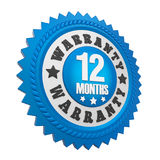12 Months Warranty Badge Isolated. On white background. 3D render Stock Photo