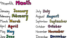 Months of the year. On white background. vector image royalty free illustration