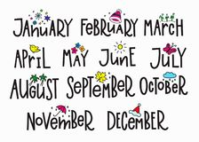 Months year calendar lettering typography. Months of the New Year simple lettering. Calligraphy calendar card graphic design element. Hand written sign. Overlay royalty free illustration
