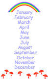 Months of the year for childrens education Stock Image