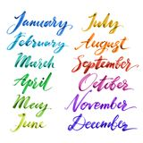 Months of the year by hand. Hand drawn creative calligraphy. And brush pen illustration stock illustration