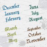 Months of the year, hand writing, Gothic Royalty Free Stock Images