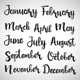 Months of the year handwritten lettering set stock illustration
