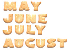 Months of year are made of cookies. Months of year May, June, July, August are made of cookies royalty free stock images