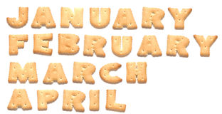 Months of year are made of cookies. Months of year January, February, March, April are made of cookies stock images
