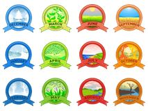 12 Months of the Year. Weather year information set. Illustration of a nature background in a round shape of the logo Royalty Free Stock Images