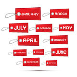 Months of the Year Red Sale Paper Labels Stock Images