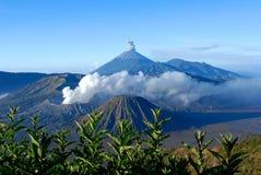 Monti Bromo, un vulcano attivo in East Java, Indonesia Fotografie Stock Libere da Diritti