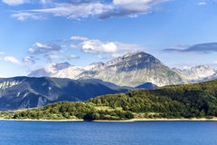 Monti della Laga. Campotosto lake, and Monti della Laga (Aquila) - Italy Royalty Free Stock Photo