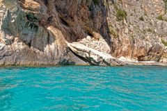 Monti Insani Crazy Mountain - Sardenia - Italy. Monti Insani - Baunei - Sardenia, Italy. Sailing to Crazy Mountain on the east coast of Sardenia. Photo taken on royalty free stock image