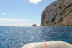 Monti Insani Crazy Mountain - Sardenia - Italy. Monti Insani - Baunei - Sardenia, Italy. Sailing to Crazy Mountain on the east coast of Sardenia. Photo taken on royalty free stock photos