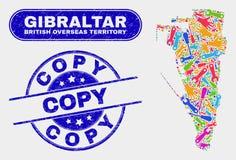 Monti le guarnizioni del bollo della copia della mappa e di lerciume di Gibilterra illustrazione vettoriale
