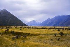 Monti le valli di Tasman, alpe del sud del parco nazionale del cuoco di Aoraki Mt Immagini Stock Libere da Diritti