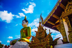 Montian temple Roofs ,Roof of Thai Temple Image and image of Buddha. Royalty Free Stock Photos