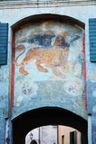 Monticato Gate, in Conegliano Veneto, Treviso. Wall painting on the Monticato Gate, historical buildings in Conegliano city, in Treviso, in Veneto, Italy Royalty Free Stock Image