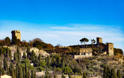 Monticchiello traditional tuscan village skyline. Siena, Tuscany Stock Images