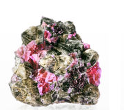 Monticellite. Rhodochrosite in its rock material Stock Photos
