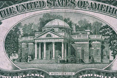 Monticello from 1953 Two Dollar Bill. Old style two dollar bill Royalty Free Stock Photo