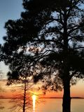 Monticello reservoir in south carolina at sunset royalty free stock images